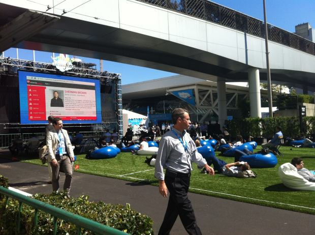 Business professionals in beanbag chairs – Dreamforce Plaza